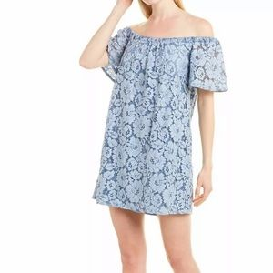 Revolve Three Eighty Two Lace Off The Shoulder Dress Denim Color New Small S